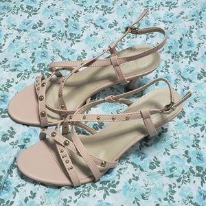 New blush pink strappy heels by Forever.